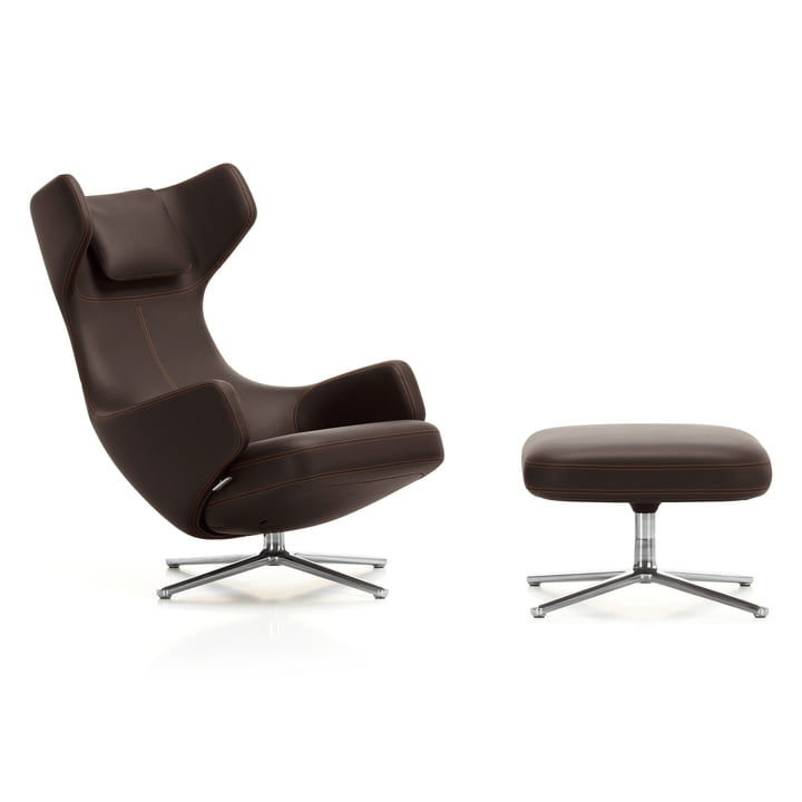 Grand Repos & Ottomann by Vitra in Aluminium polished/ Leather Premium chocolate with contrast seam (felt glider)