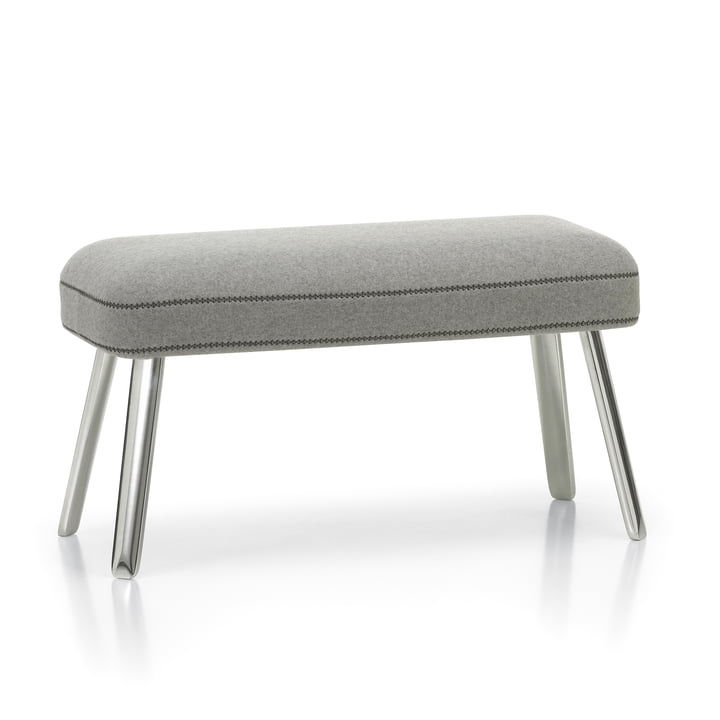 Panchina footrest by Vitra in Cosy pebble grey (01) / polished (plastic glider)