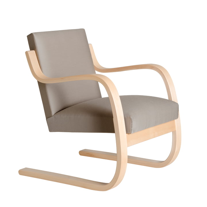 Armchair 402 by Artek in birch clear lacquered / light grey (Remix 123)