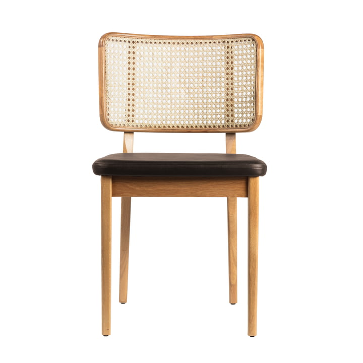 Wicker chair from red edition in oak nature / leather black