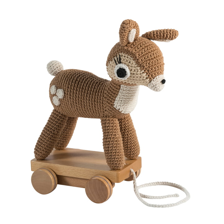 Crochet pull-along animal deer from Sebra