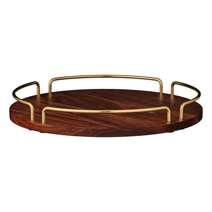 Vitta tray large, Ø 36 x H 4,3 cm, walnut / gold by AYTM