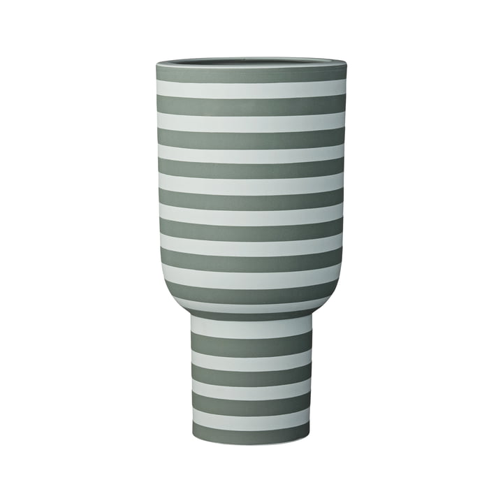 Varia Sculptural Vase, Ø 15 x H 30 cm in dusty green / forest from AYTM