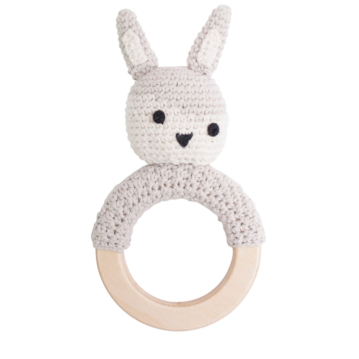 Crochet rattle rabbit from Sebra in beige