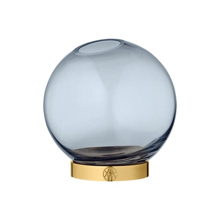 Globe Vase mini, Ø 10 x H 10 cm in navy / gold by AYTM