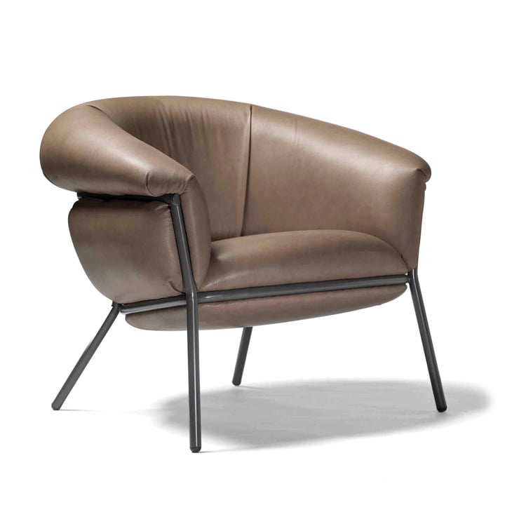 Grasso armchair from BD Barcelona in beige (RAL 7022) / leather clay (Sauvage S45)