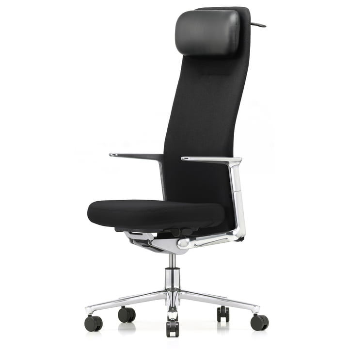 Vitra - Pacific Chair high with headrest, fixed aluminium armrests, five-star polished aluminium frame, castors carpet, seat and back black / nero (Plano)