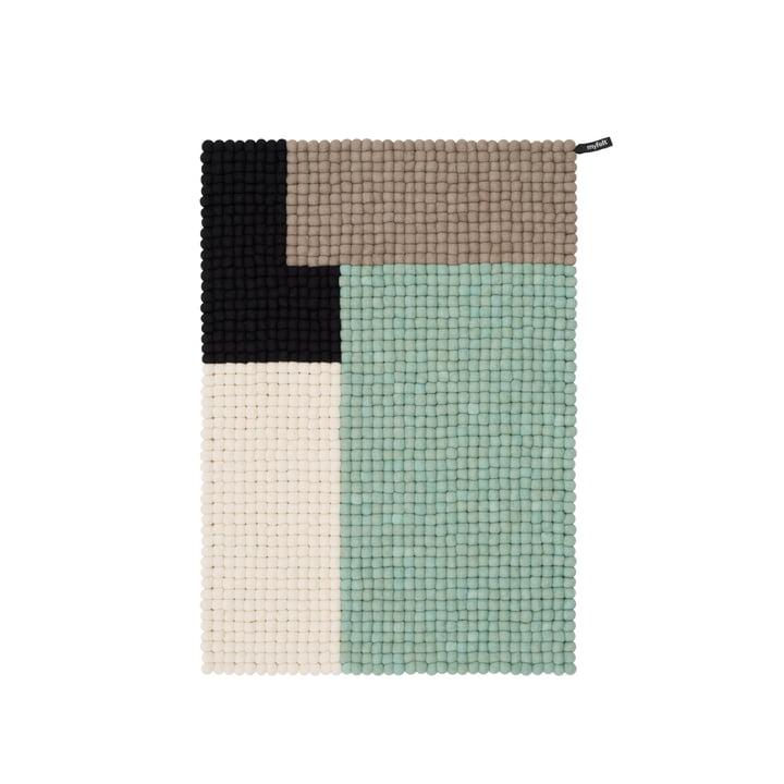 Cube felt ball carpet, 70 x 100 cm, mint / black / white / brown by myfelt