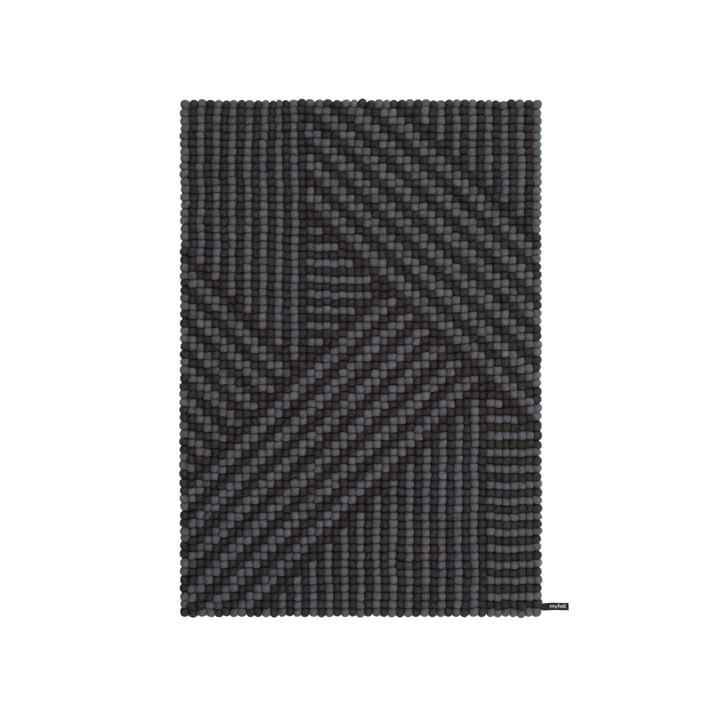Weave felt ball carpet, 90 x 130 cm in anthracite / dark grey by myfelt