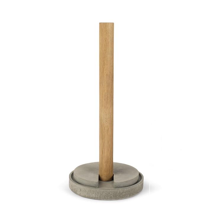 Stack kitchen roll holder from Spring Copenhagen in oak / cement