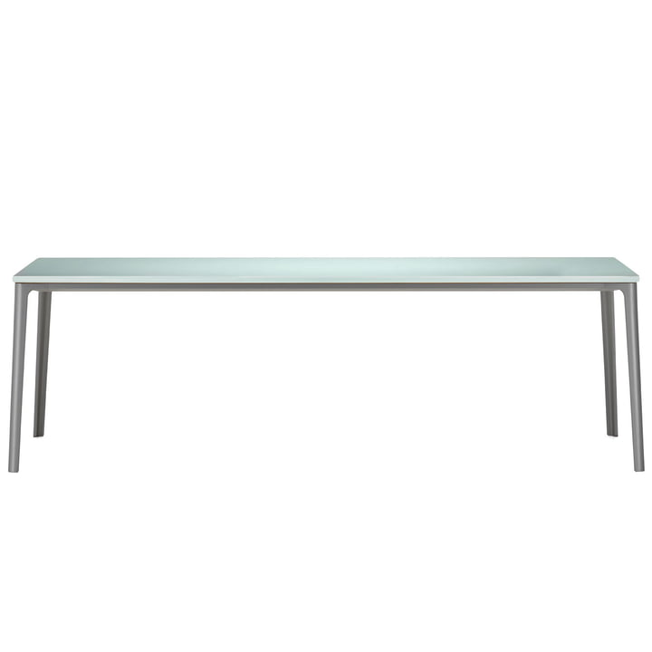 Vitra - Plate Dining Table, 220 x 100 cm, table top ESG float glass satin / base earth grey