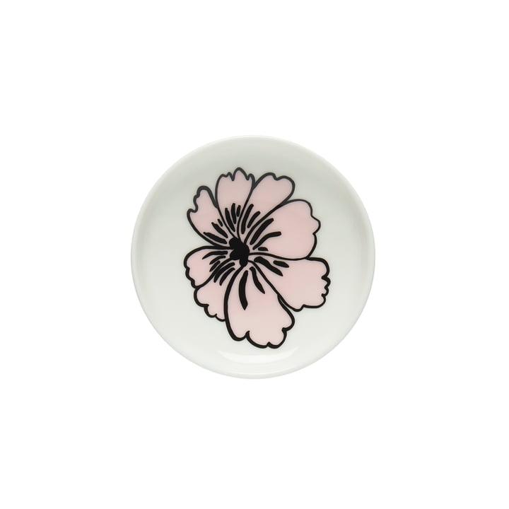 Oiva Eläköön Elämä plate, Ø 5 cm in white / pink by Marimekko