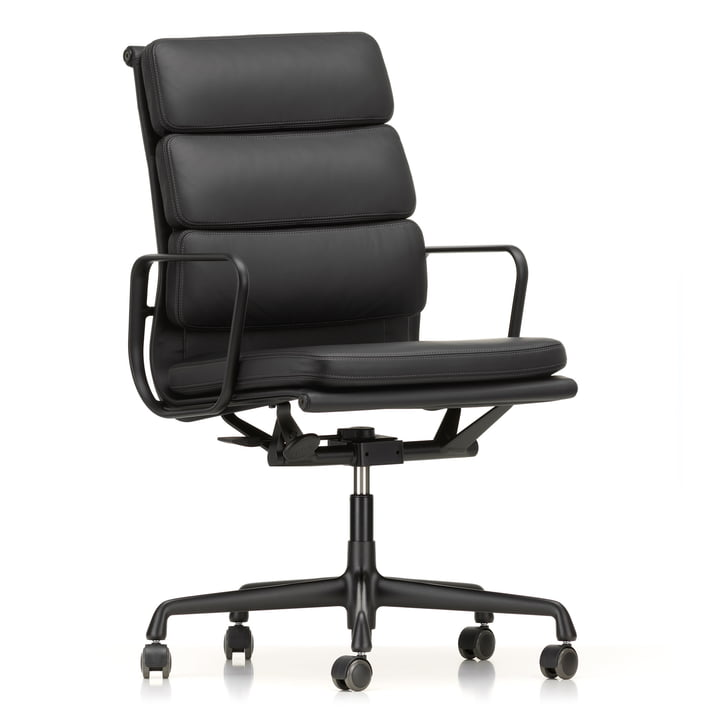 EA 219 Soft Pad office chair coated deep black with armrests by Vitra with leather Premium nero (hard floor castors)