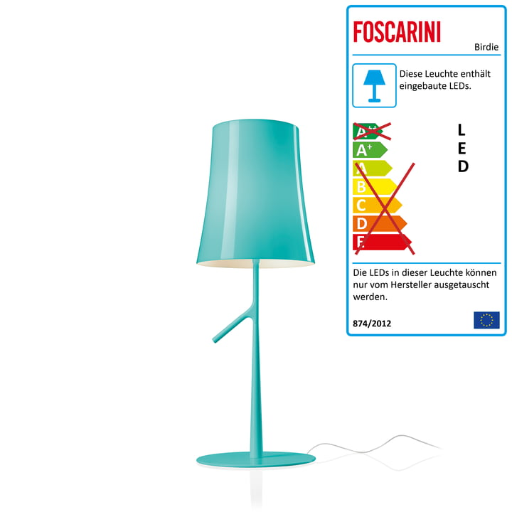Birdie Piccola LED table lamp with dimmer by Foscarini in aqua