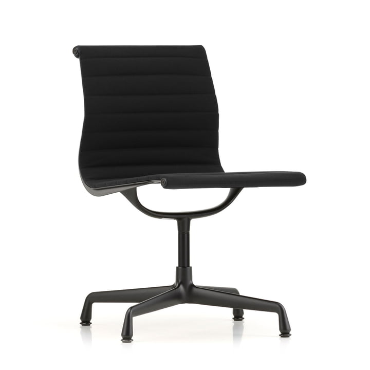 EA 101 chair coated in deep black by Vitra in Hopsack nero (felt glider)