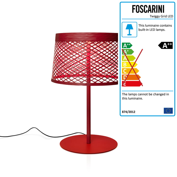 Twiggy Grid XL LED table lamp from Foscarini in carmine