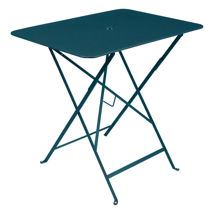 Bistro Folding table rectangular 77 x 57 cm from Fermob in acapulco blue