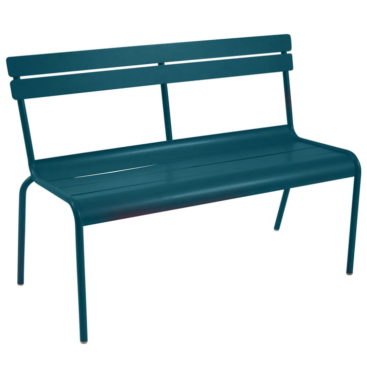 Luxembourg Bench stackable by Fermob in acapulco blue