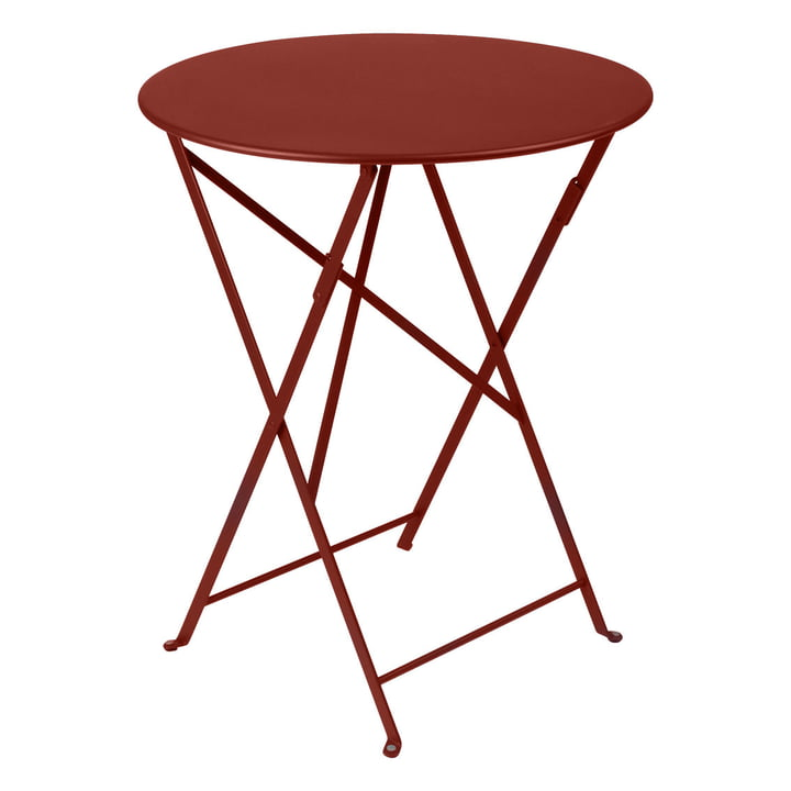 Bistro Folding table Ø 60 cm by Fermob in ochre red