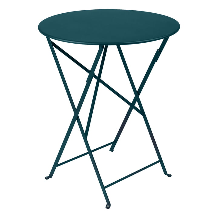 Bistro Folding table Ø 60 cm by Fermob in acapulco blue
