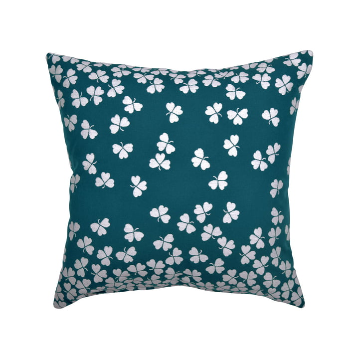 Trèfle outdoor cushion 44 x 44 cm by Fermob in green-blue