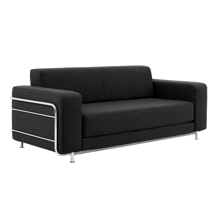 Silver sofa bed by Softline in chrome / felt melange anthracite (610)