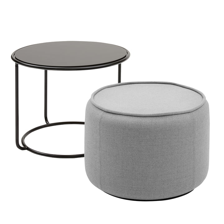 Tom Pouf and side table Ø 58 x H 47 cm from Softline in black / Vision light grey (445)