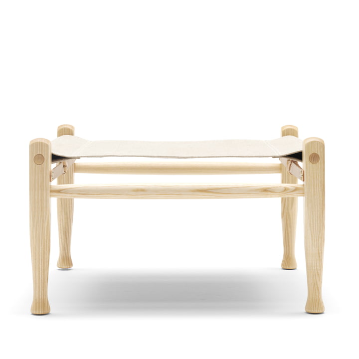 KK97170 Safari stool by Carl Hansen in ash oiled / leather nature / canvas nature