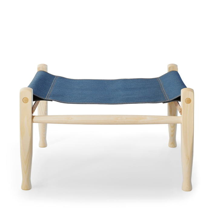 KK97170 Safari stool by Carl Hansen in ash oiled / leather nature / denim (Limited Edition)