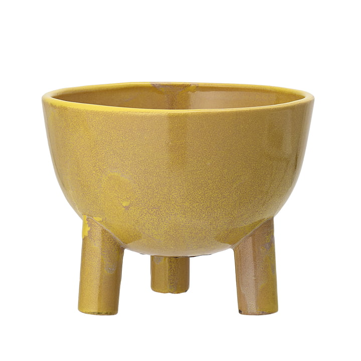 Earthenware flowerpot with feet from Bloomingville, Ø 15 x H 11,5 cm in yellow