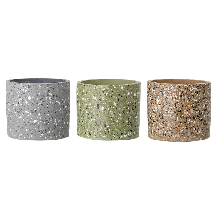 Concrete flower pots from Bloomingville, Ø 14 x H 13 cm, multi-color in set of 3