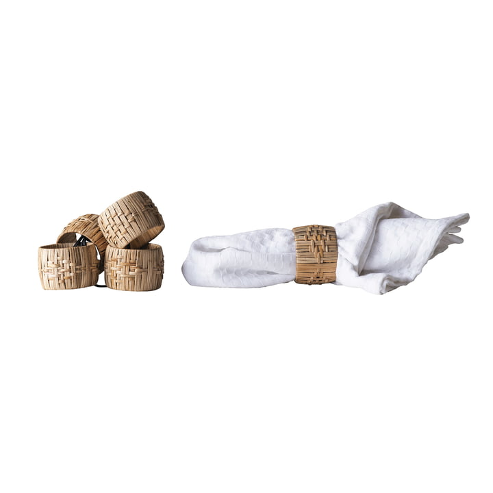 Napkin ring from Bloomingville, Ø 5 x H 4 cm in nature in set of 4