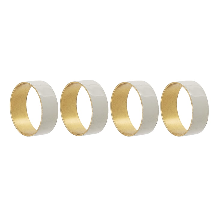 Napkin ring metal from Bloomingville, Ø 4,5 x H 1,5 cm in grey (set of 4)