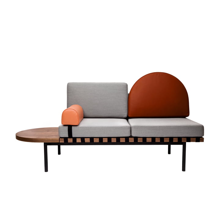 Grid Daybed by Petite Friture in walnut / Cover: Steelcut Trio 2 (133), shelf left, semicircular back cushion & Headrest: leather, grey / brick red / coral
