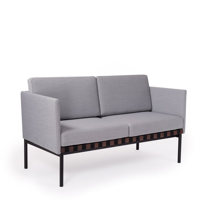 Grid sofa with armrests by Petite Friture in walnut / Cover: Steelcut Trio 2 (133)