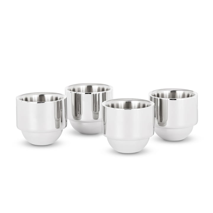 Brew espresso cup by Tom Dixon made of stainless steel in set of 4