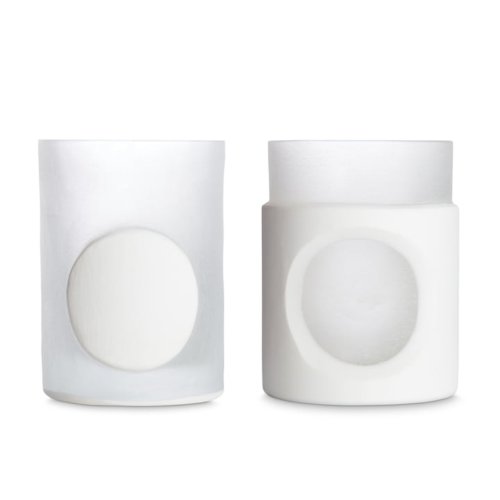Carved vase by Tom Dixon in white in set of 2