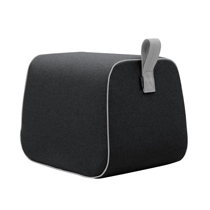 Nector stool by Softline in felt melange anthracite (610) / piping felt melange grey (620)
