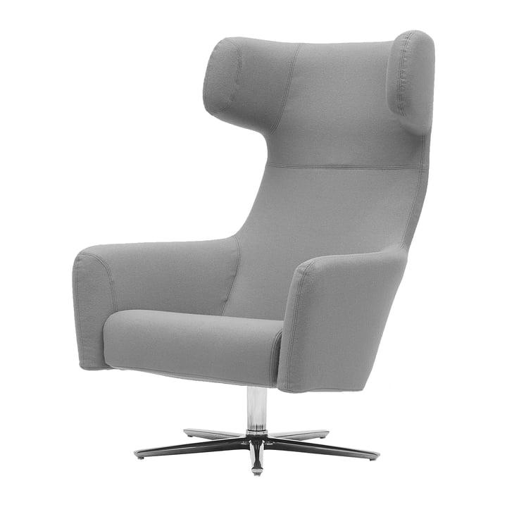 Havana Swivel armchair by Softline with swivel base aluminium polished in felt melange light grey (620)