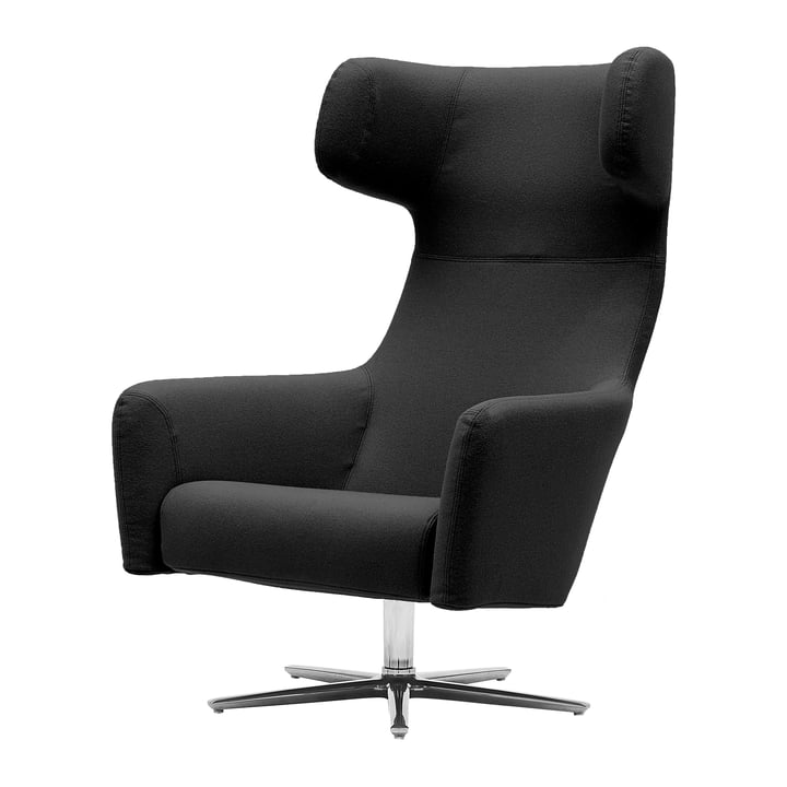 Havana Swivel armchair by Softline with swivel base aluminium polished in felt melange anthracite (610)