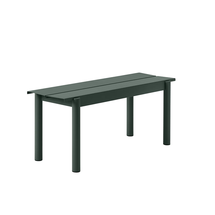 Linear Steel Bench 110 cm in dark green by Muuto