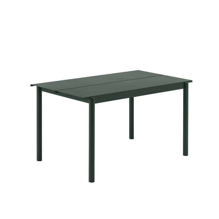 Linear Steel Table, 140 x 75 cm in dark green from Muuto