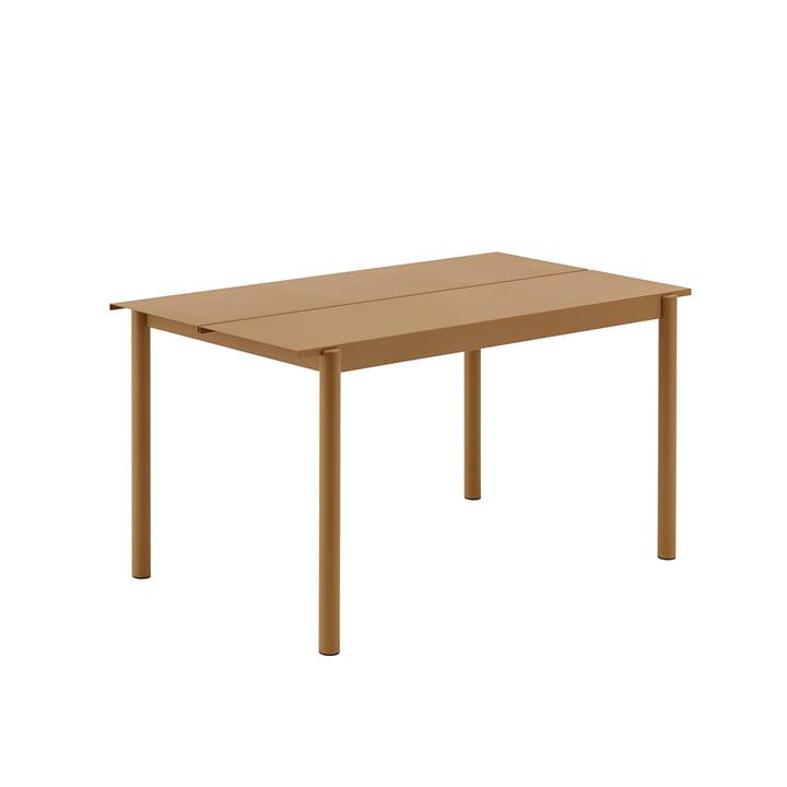 Linear Steel Table, 140 x 75 cm in burnt orange from Muuto