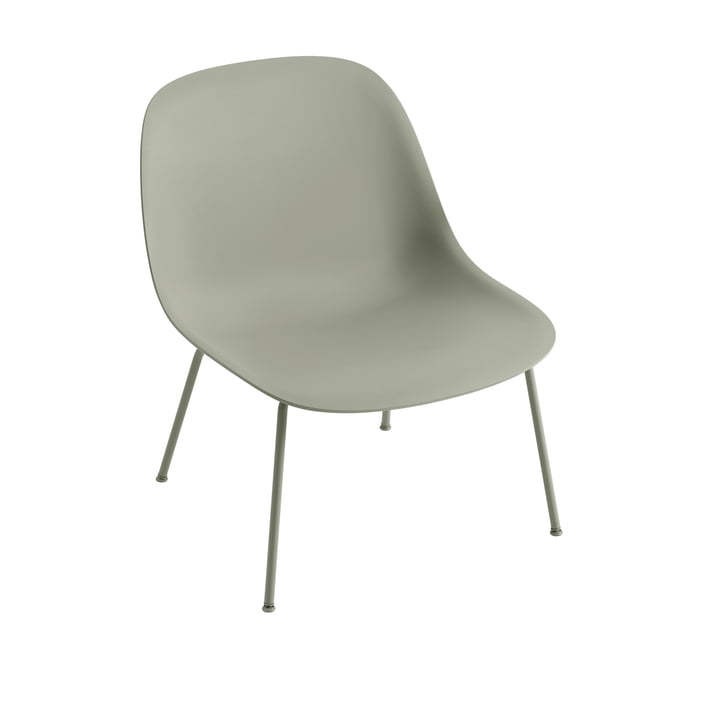 Fiber Lounge Chair Tube Base in dusty green by Muuto