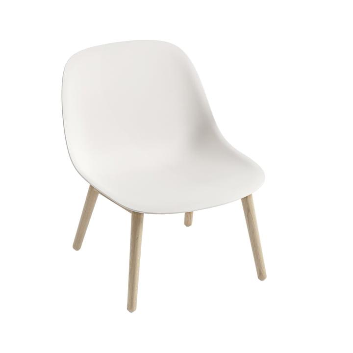 Fiber Lounge Chair Wood Base in oak / white by Muuto