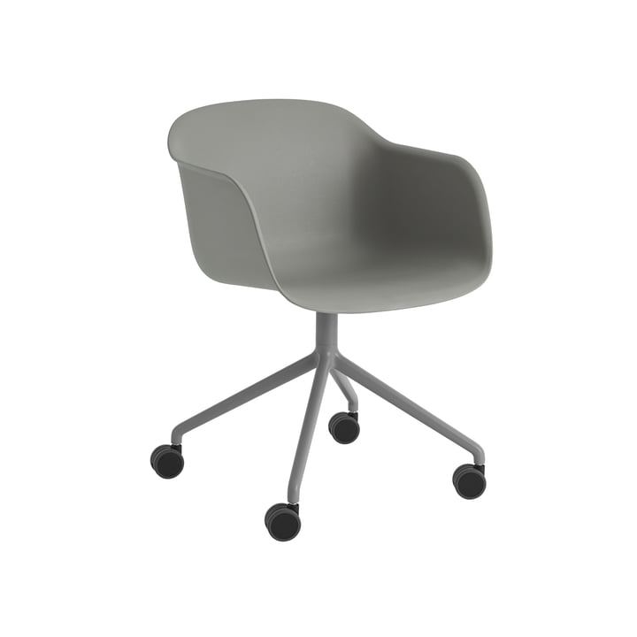 Fiber Armchair Swivel with castors in grey by Muuto