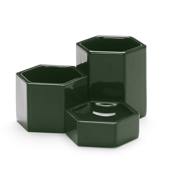 Hexagonal Containers in set of 3 from Vitra in dark green