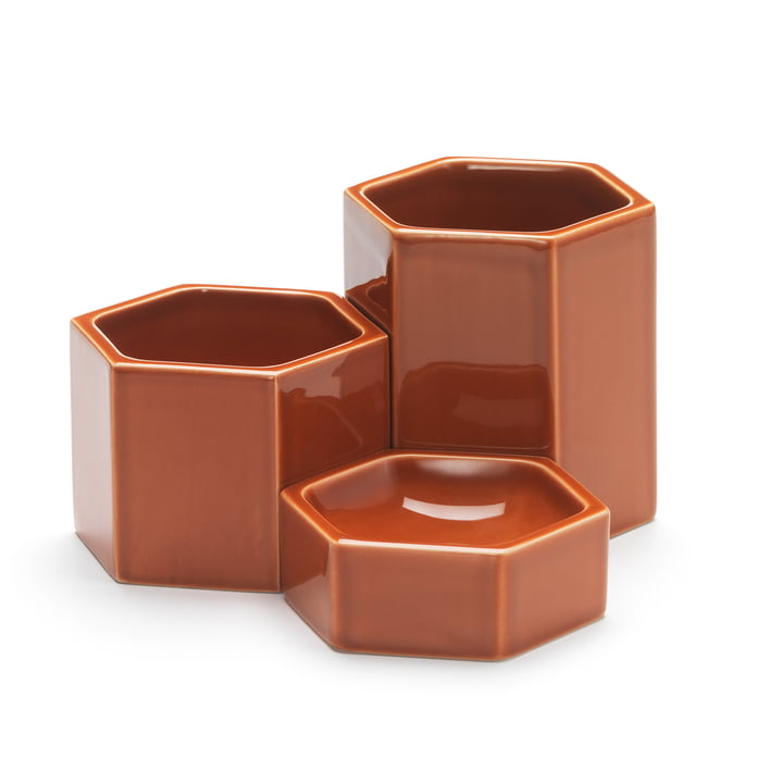 Hexagonal Containers in set of 3 from Vitra in stainless orange
