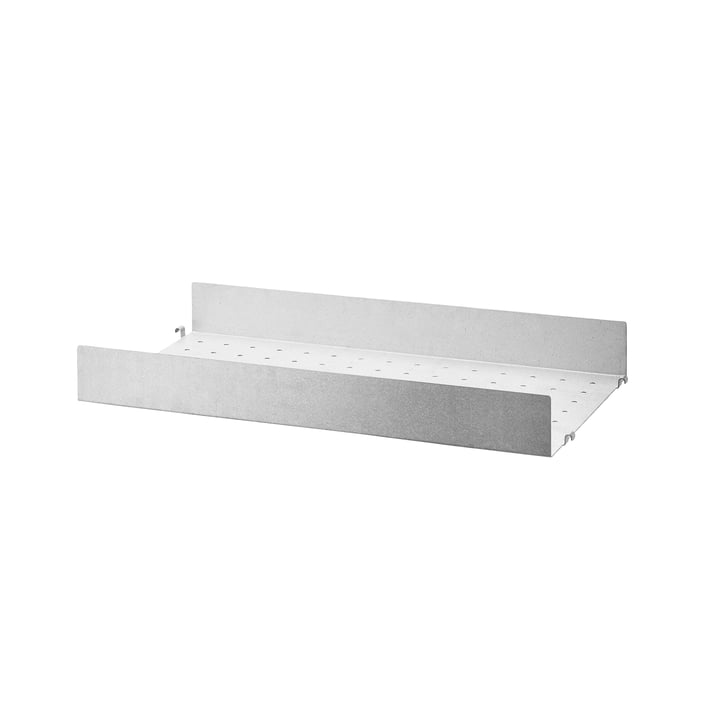 Metal shelf with high edge 58 x 30 cm from String in zinc plated