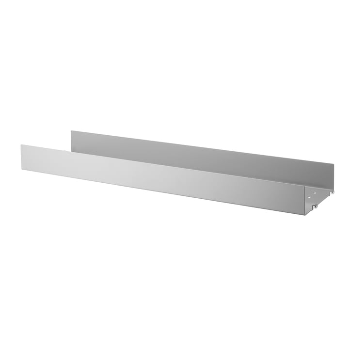 Metal shelf with high edge 78 x 20 cm by String in gray